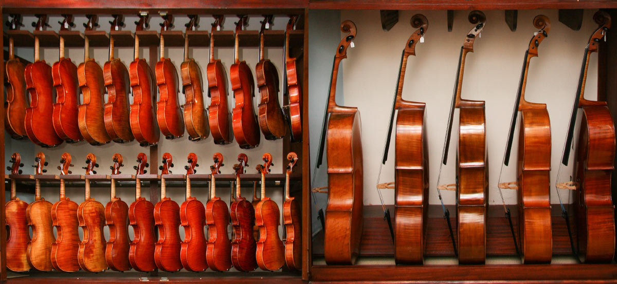 Violins, violas and cellos for sale at Hill & Company in Welwyn